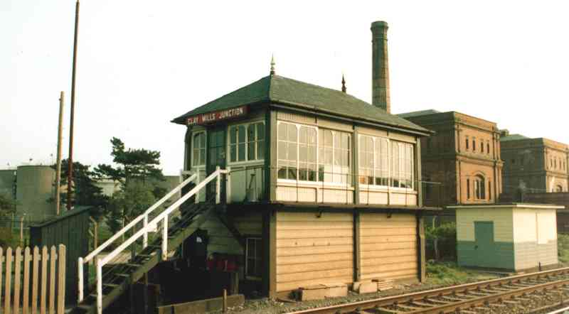 Clay Mills Junction signal box viewed from the level crossing.