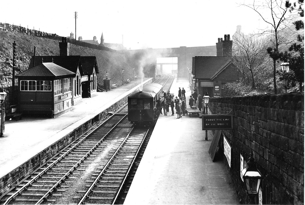 Ripley Station in Edwardian years viewed from the station footbridge looking south