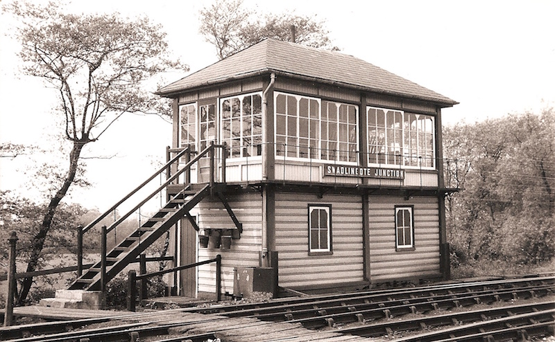 Swalincote Junction signal box photographed from the front looking across the lines