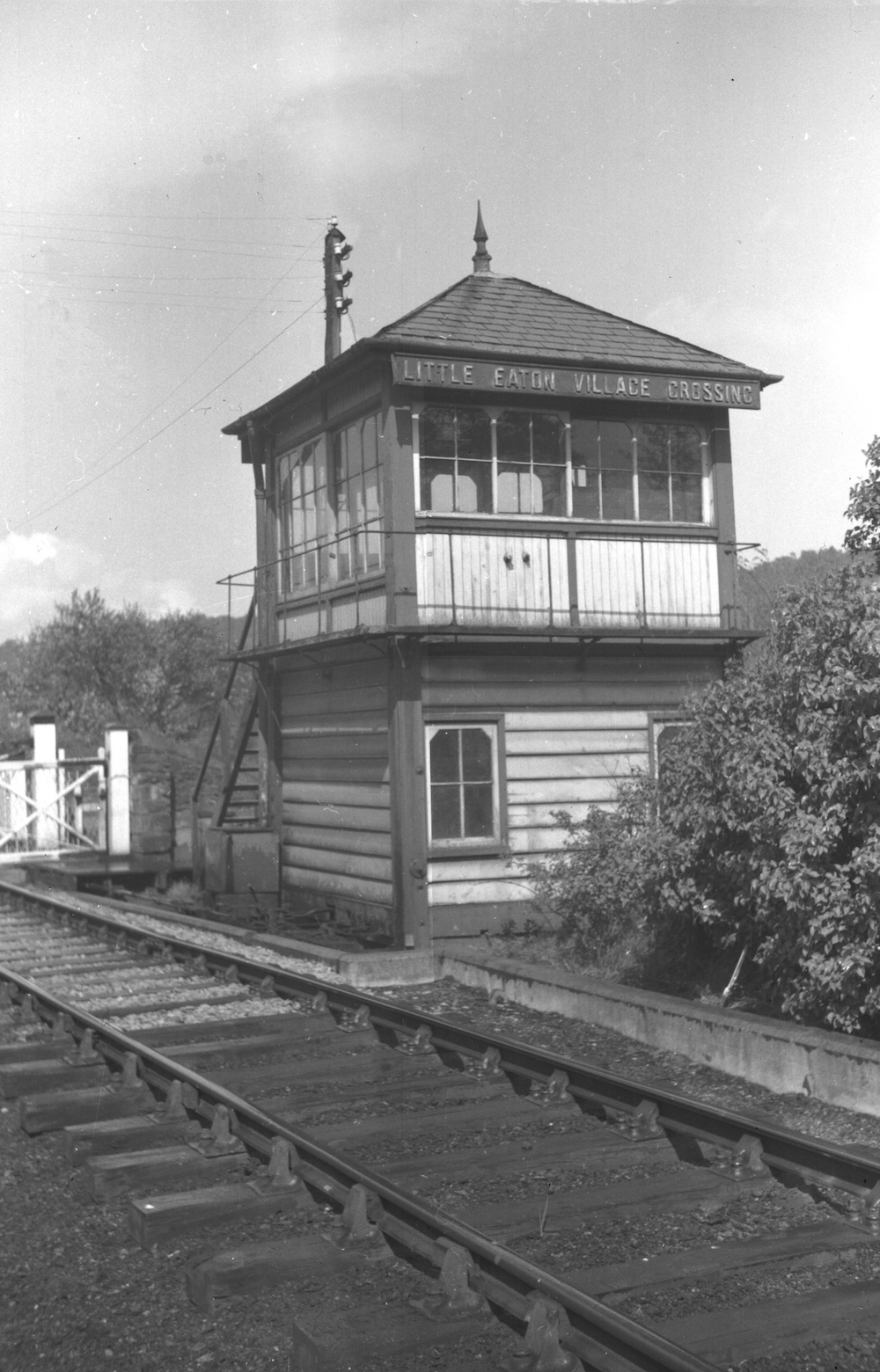 Little Eaton Village Crossing signal box viewed from the track at the north end about 1965 by Pat Larkam - MRSC collection