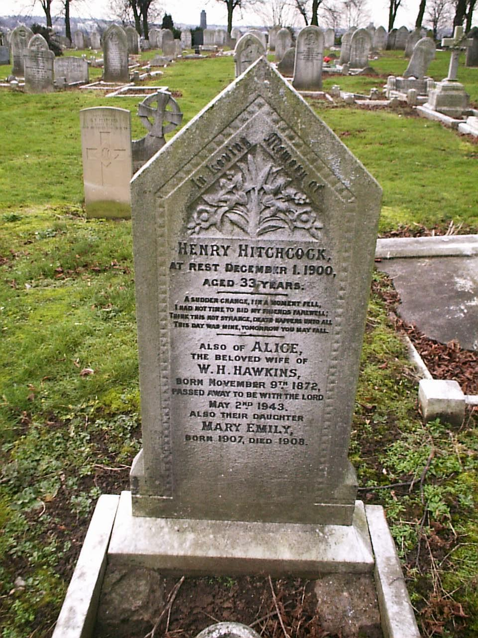 Henry Hitchcock's headstone in Nottingham Road Cemetary, Derby.